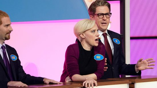 Kate McKinnon and the 'SNL' cast perform a 'Family Feud' sketch at the NBC Upfront